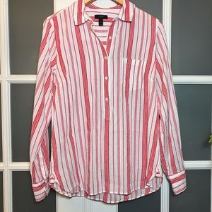 EUC Women's, sz 10, J Crew, White and Red Tunic